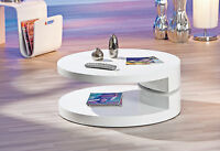Table Basse Table Meuble Salon Moderne Design Ronde Pivotante Blanc Brillant