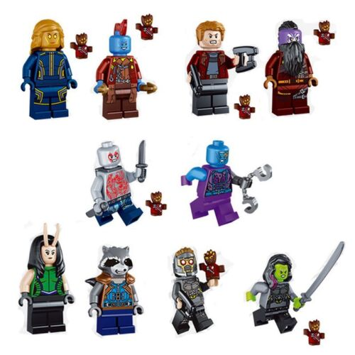 10 mini figures Fit avec LEGO MARVEL Guardians of the Galaxy minifigs UK 2018