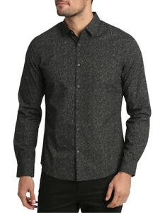 NEW Blaq Kettleblack Printed Long Sleeve Slim Shirt Black