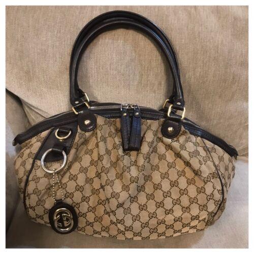 Gucci GG Sookee Bag Beige Dark Brown Canvas 223974