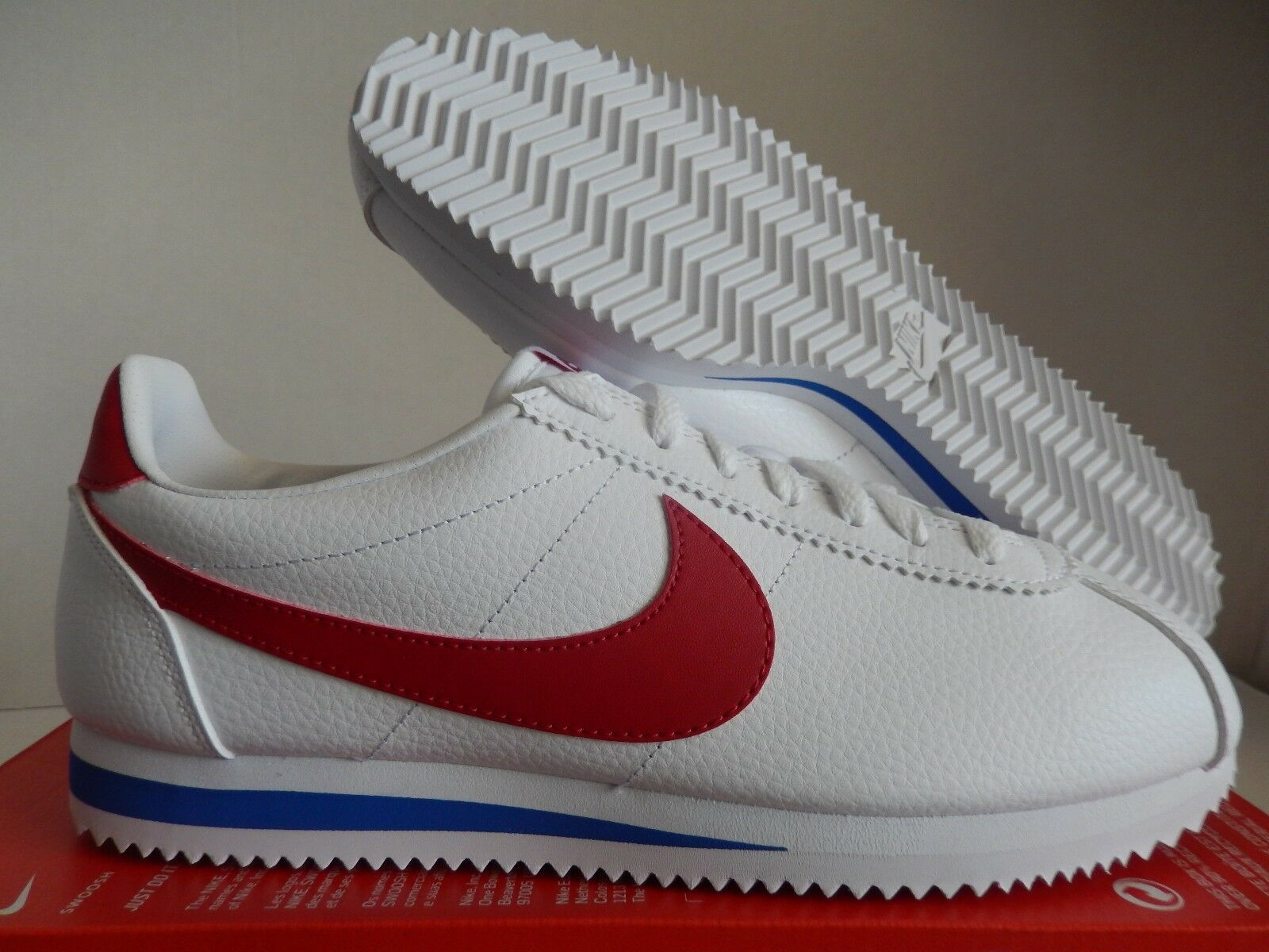 NIKE CLASSIC CORTEZ LEATHER  FORREST GUMP  WHITE-RED SZ 7.5