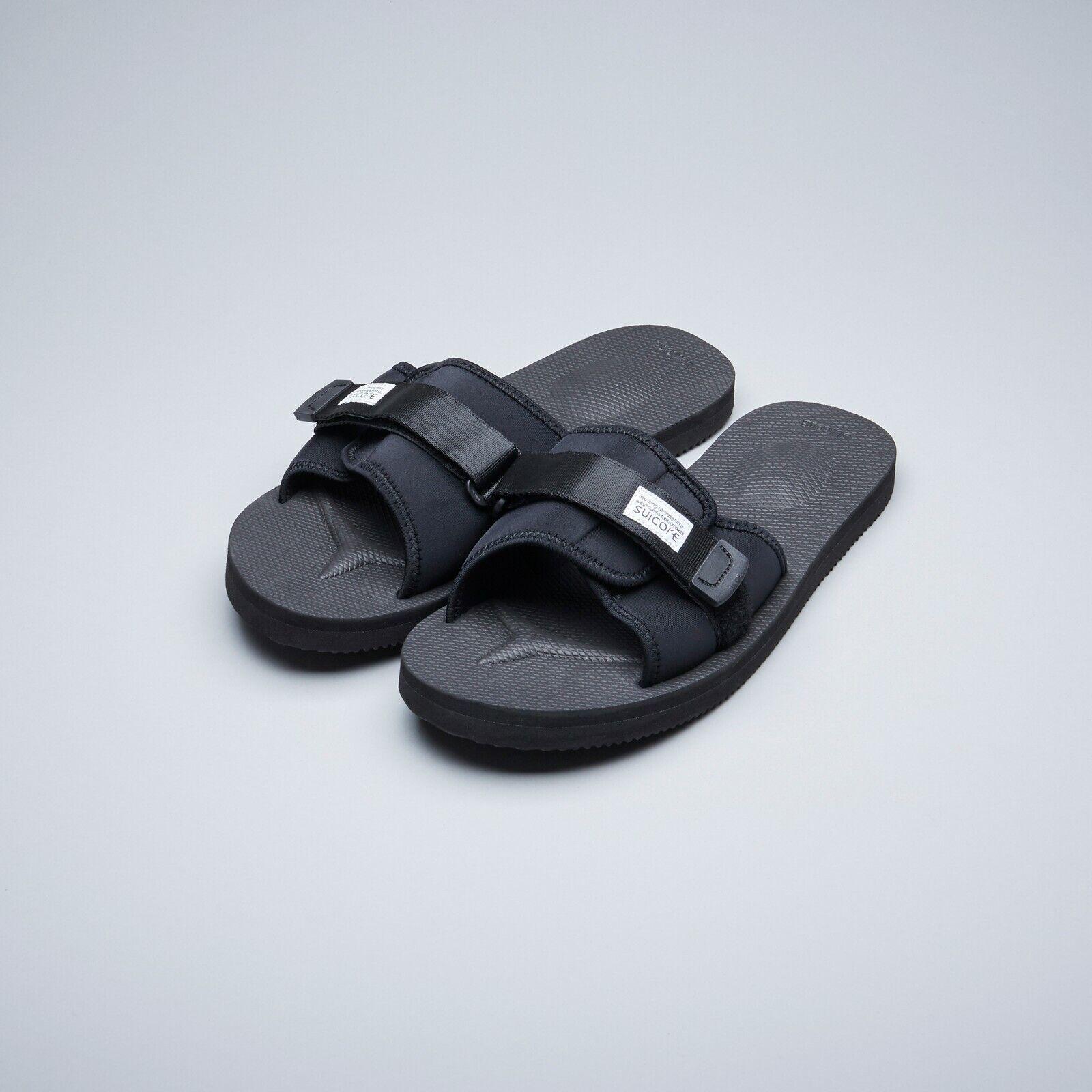 Suicoke OG-082 Padri Negro De Goma Nylon Ajustable Zapatillas Diapositivas