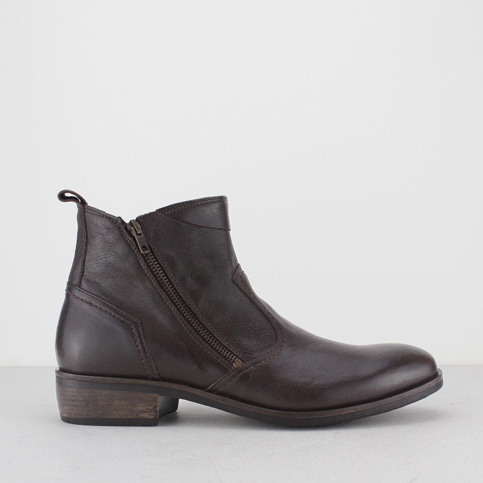 Machete Weston Cremallera para Hombre De Cuero Resistente Aspecto Vintage Tacón Alto botas al Tobillo Marrón