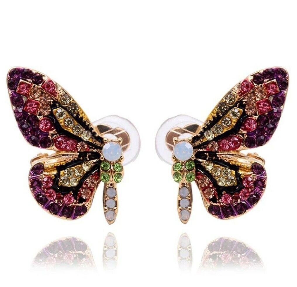 -WE❤- Butterfly Stud Crystal Earrings Jewelry Jewellery Designer Fashion 2019