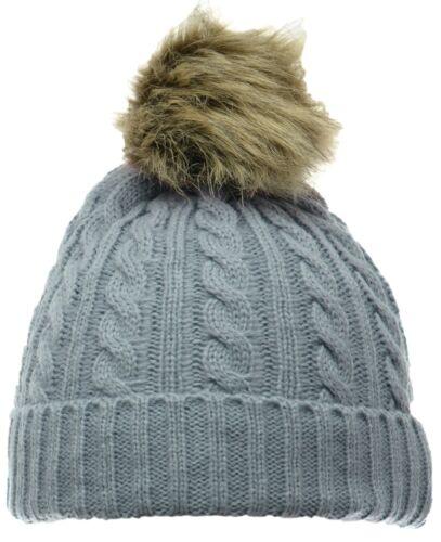 Nouveau Faux RACOON FUR Ball POM En Tricot Torsadé Bonnet Pompon Ski Chapeau Bonnet Adolescent Adulte