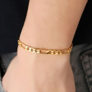 33edcd5a90306 Details about Vintage Mens 18K Yellow Gold Plated Figaro Chain Bracelet  Bangle Jewelry 18-22cm