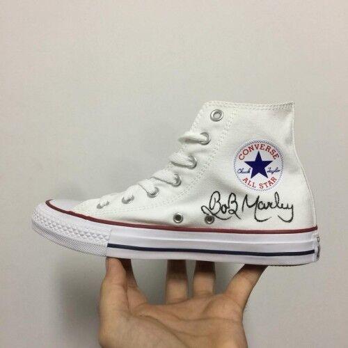 Converse All Star Mano Bob Marley Classiche [Dipinte a Mano Star Personalizzate]   Di fee9a1