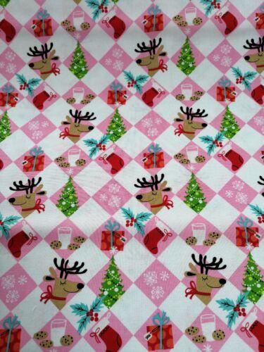 Cuarto gordo tela de algodón acolchado Michael Miller Navidad Rosa Ho Ho Reno