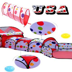 Kids-Playhouse-Crawl-Tunnel-Basketball-Hoop-Children-Play-Ball-Pit-Pool-Tent-US