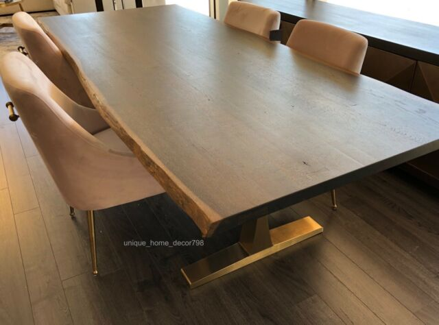 Prime Restoration Hardware Replica Modern Live Edge Dining Table Natural Oak Gold 96 Pabps2019 Chair Design Images Pabps2019Com