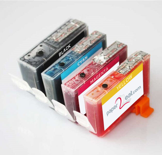 Set of 4 Refillable Edible Ink Cartridges for Canon MX870 CLI-221 Series