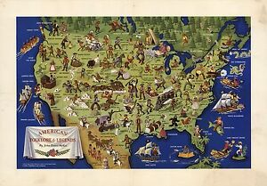 1950-PICTORIAL-map-American-folklore-and-Legends-POSTER-8114