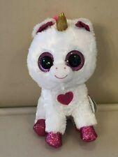 Ty Beanie Boos Cherie White Unicorn Pink eyes hoofs ears Valentine Edition  2019 ac637a4dbf11
