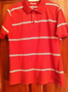 Details about Mens Polo T-Shirt UK S Red & White Stripe (B1)