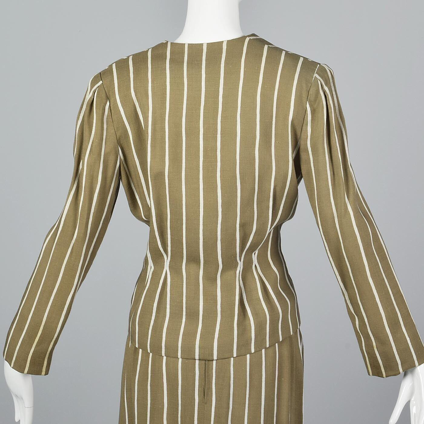 L Vintage 1980s 80s Pauline Trigere Striped Skirt… - image 7