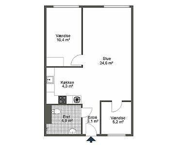 5000 vær. 3 lejlighed, m2 73, Skt. Hans Gade