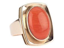 Art Deco 333 Rose Gold Große Sizilianische Lachs Koralle Cabochon Damen Ring