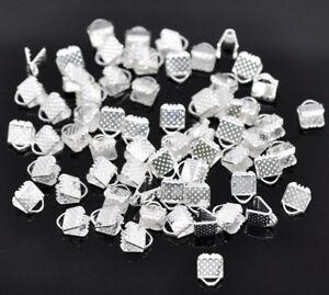 LOT-de-80-EMBOUTS-PINCES-ATTACHE-RUBAN-a-griffes-6-x-8-x-5mm-ARGENTES-bijoux
