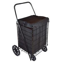 DLUX D801SL Folding Shopping Cart & Liner (Large, Black)