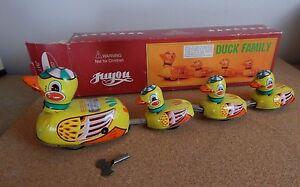 Vintage Juyou Clockwork Tinplate Duck Family Vintage 1970's Chinese Tinplate