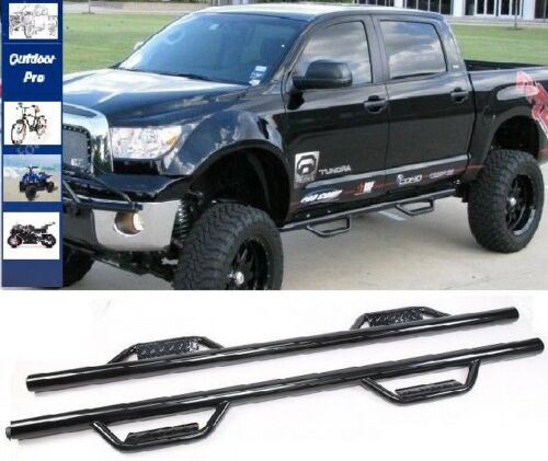 For Black 08-19 Toyota Tundra Crew Max H Style Steps Running Boards Nerf Bars