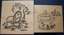 Great Impressions Rubber Stamps, Willow Chair & Spring Watering Can, F443, E670
