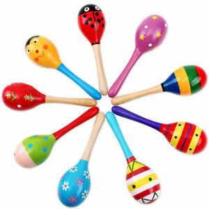 Baby-Kinder-Sound-Musik-Spielzeug-Geschenk-Kleinkind-Rassel-Sand-Holz-Hamme-D4P6