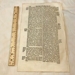 LARGE 1700's German Folio Manuscript Book Leaf - Decor Document Old Antique