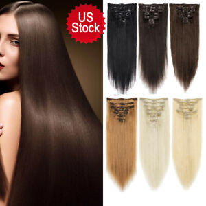 Natural-Hair-7-Pieces-Straight-Clip-In-Human-Hair-Extensions-100-Remy-Hair-USA