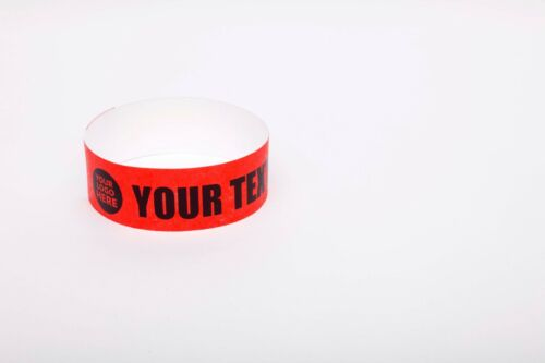 """250 Custom Printed Red 1/"""" Tyvek Paper Wristbands for Events,Festivals"""