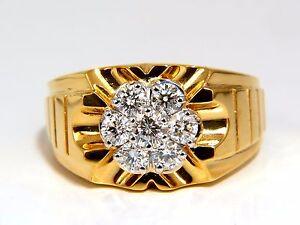 1-00ct-Corte-Natural-Redondo-Diamantes-Ancho-Hombre-Anillo-18-Quilates-Flash