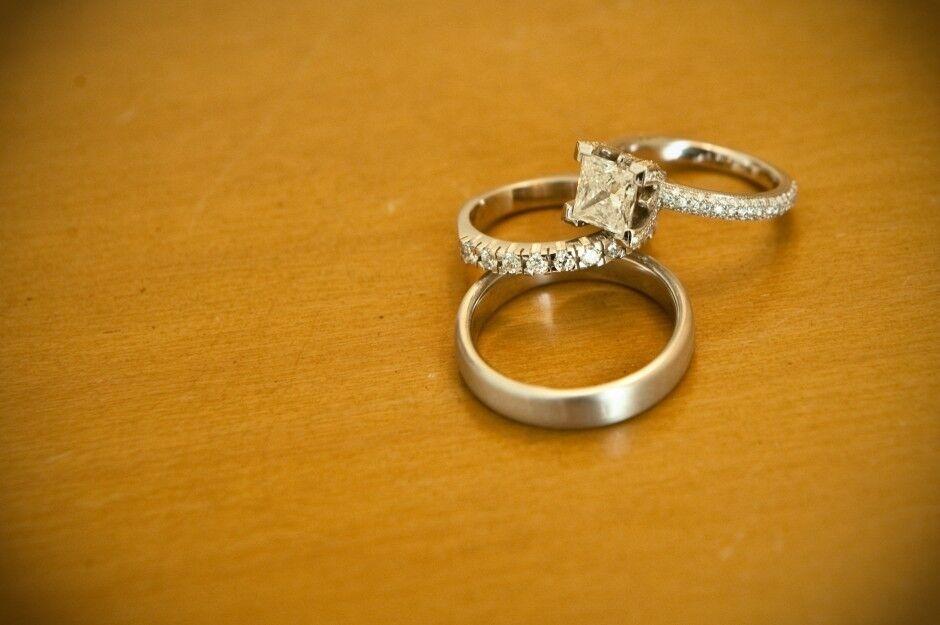 Princess Diamond Cut Wedding Bridal Set 14K White gold Over Trio Engagement Ring