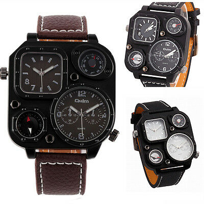New Oulm 2 Movement Time Zone Military Army Leather Men Sport Quartz Watch