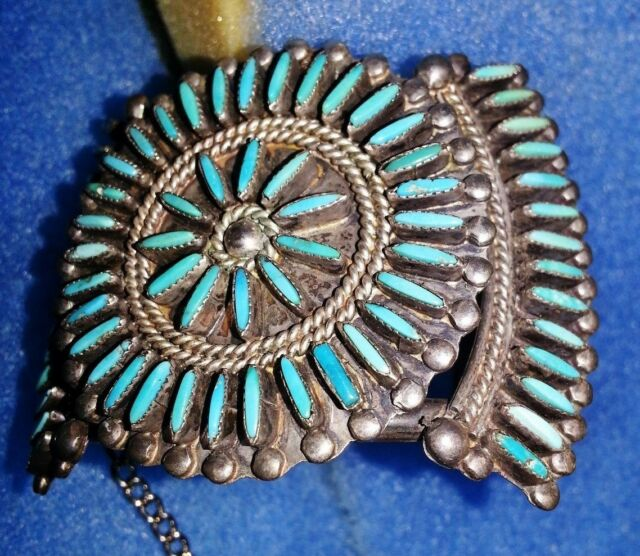 VINTAGE SILVER TURQUOISE NATIVE AMERICAN BRACELET CUFF