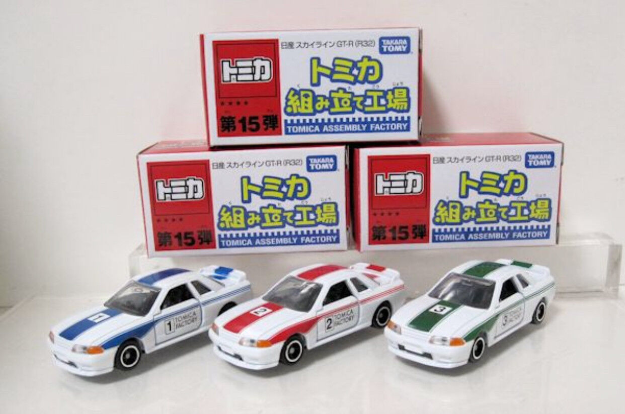 Tomica Tomy Assembly Factory Vol 15 Nissan Skyline R32 set of 3 Mint w box