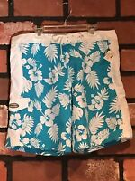 Men's Large Rainforest Cafe Aqua And White Swim Trunks Board Shorts