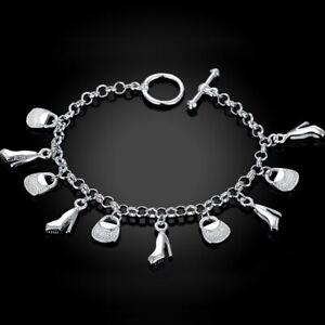 Bracelet-argent-034-Fines-Pendants-Bags-amp-Shoes-034-Envoi-immediat-de-France