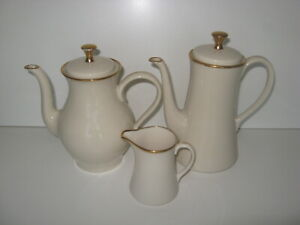 BONE-Porcelain-Coffee-Pot-Tea-Pot-Creamer-EUC