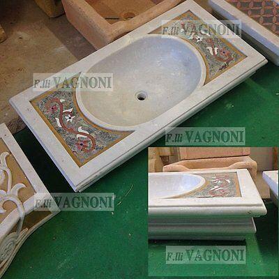 Inventivo Lavandino Lavello Vasca In Marmo Intarsiato Liscio Bagno Acquasantiera Pietra