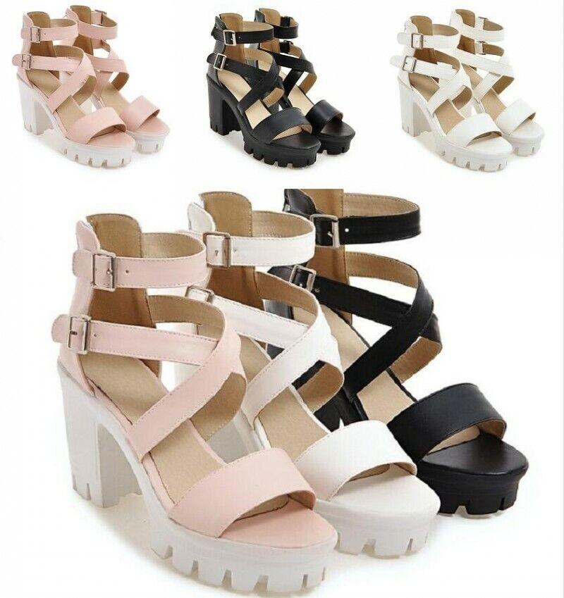 Femmes Bout Ouvert 9.5 cm Plateforme Talon Haut Sandales Cross Strap Summer chaussures SZ34-43