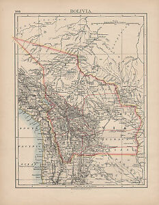 1897 VICTORIAN MAP ~ SOUTH AMERICA ~ BOLIVIA