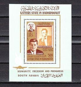 / Aden-Kathiri, Mi cat. 164, BL14 A. President John Kennedy s/sheet.