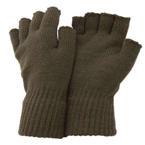MG-12D FLOSO Mens Casual Plain Design Winter Warm One Size Fingerless Gloves