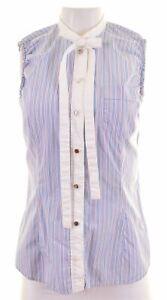 DOLCE-amp-GABBANA-Womens-Shirt-Sleeveless-IT-42-Medium-Blue-Striped-Cotton-HC29