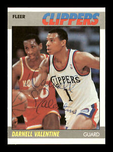 Darnell Valentine Autographed Signed 1987-88 Fleer Card #115 Clippers 178840