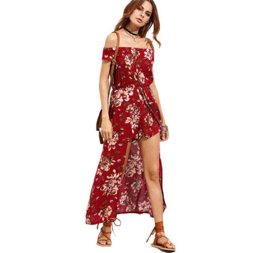 Womens Boho Off Shoulder Floral Playsuit 2-in-1 Skirts Jumpsuit Maxi Split Dress