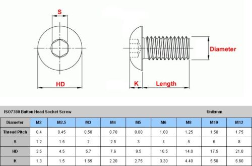 6mm High quality M6 304 Stainless Steel Button Head Socket Cap Screws ISO7380