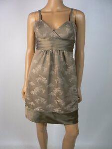 7d63167d41  280 BCBG MaxAzria Gravel Brown Floral Jacquard Quilted Empire Dress ...