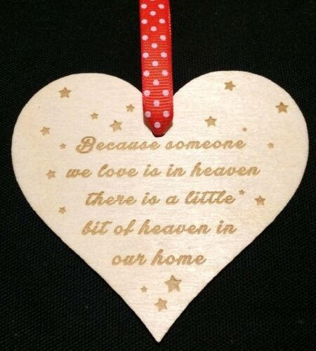 Christmas In Heaven Xmas Tree Decoration Memorial Quote Wooden Heart Love Poem