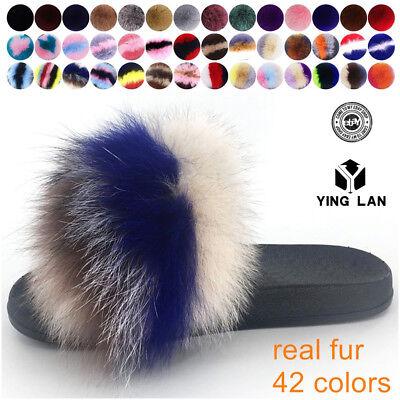 Womens Ladies Fur Slides Fuzzy Furry